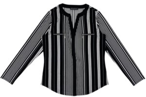 INC International Concepts Inc Plus Size Striped Zip-Pocket Top, Created for Macy's