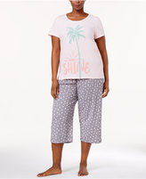 Hue Plus Size Printed Top and Capri Pants Knit Pajama Set