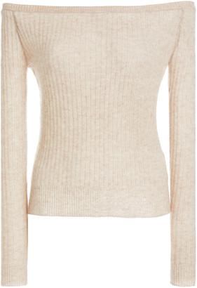 MatãRiel MATARIEL Ribbed-Knit Cashmere Off-The-Shoulder Top