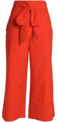 Kate Spade Belted Cotton And Linen-blend Culottes