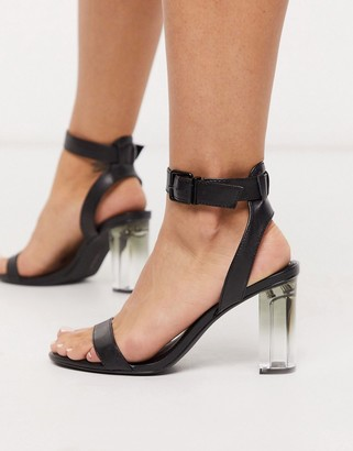 Bershka sandal with ankle strap and transparent heel