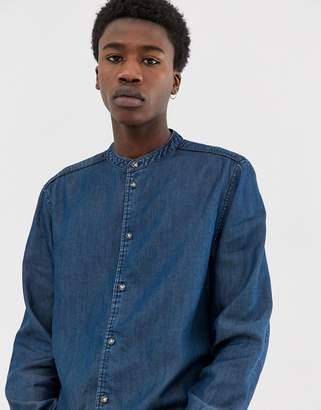 Weekday Hunt denim shirt with granddad collar in light blue