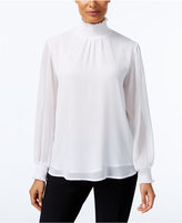 NY Collection Metallic-Detail Turtleneck Blouse