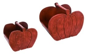 Transpac Trans Pac Wood Red Harvest Pumpkin Container