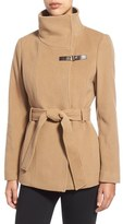 Cole Haan Women's Faux Leather Trim Belted Asymmetrical Coat