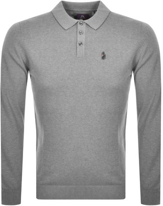 Luke 1977 Magnesium Knit Long Sleeve Polo Grey