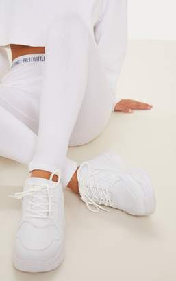 PrettyLittleThing White Chunky Sole Lace Up Trainer
