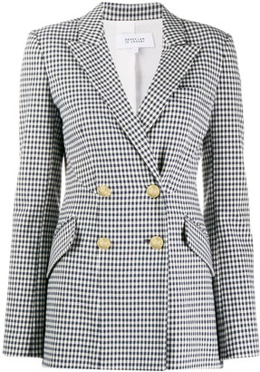Derek Lam 10 Crosby Rodeo Double Breasted Gingham Twill Blazer