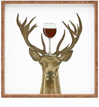 Deny Designs Coco de Paris Deer with Wineglass Square Tray