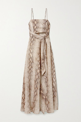 Zimmermann Bellitude Cutout Snake-print Linen Midi Dress - Snake print