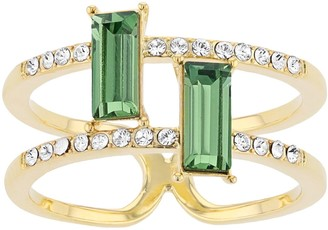 Brilliance+ Brilliance Dual Shank & Green Crystal Baguette Ring with Swarovski Crystals