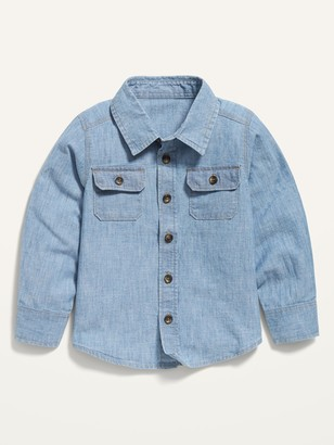 Old Navy Button-Front Chambray Utility Shirt for Toddler Boys