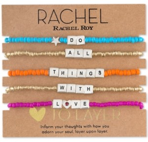 Rachel Roy Two-Tone 5-Pc. Set Do All Things With Love Beaded Stretch Bracelets