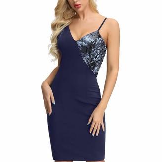 Liumilac Womens Sexy Halter Cocktail Dress Sequins Deep V Neck Bodycon Dress Dark Blue L