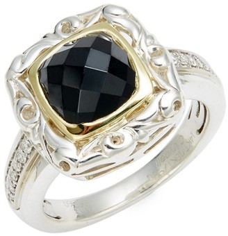 Charles Krypell Diamond Spinel 14K Two-Tone Gold Sterling Silver Cocktail Ring