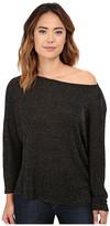 Michael Stars Lurex Sweater Rib Off Shoulder Dolman