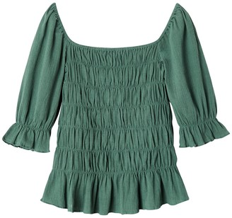 La Redoute Collections Cotton Square-Neck Top with 3/4 Length Sleeves