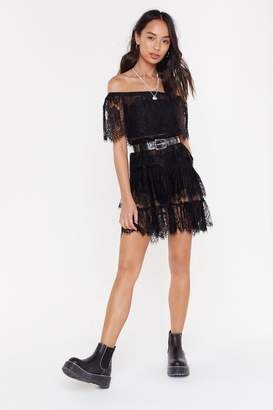 Nasty Gal Womens Lace To Lace Tiered Off-The-Shoulder Dress - Black - 6, Black