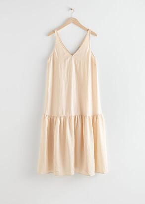 And other stories Voluminous V-Neck Midi Dress