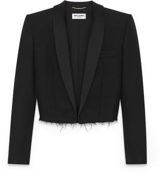 Saint Laurent Raw Hem Cropped Tuxedo Jacket