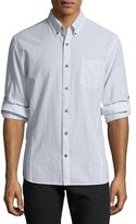 John Varvatos Roll-Sleeve Striped Cotton Button-Front Sport Shirt