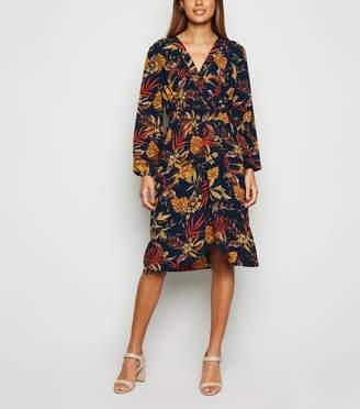 New Look Mela Floral Long Sleeve Wrap Dress