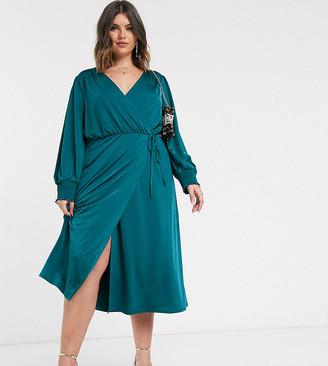 Asos DESIGN Curve jersey satin wrap midi dress in teal-Blue