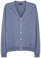 Corneliani Light Blue Fine-knit Wool Cardigan