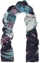 Lily & Lionel Beverly Hills Slim Aarons printed modal and cashmere-blend scarf