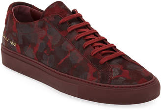 Common Projects Men's Achilles Camo Suede Low-Top Sneakers, Red
