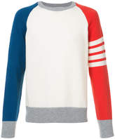 Thom Browne Crewneck Pullover With 4-Bar Stripe In Funmix Cashmere