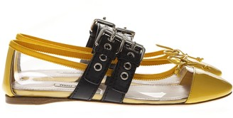 Miu Miu Yellow Pvc & Leather Pointy Buckled Slippers