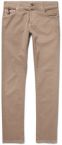 Isaia Slim-fit Stretch-cotton Twill Trousers - Sand