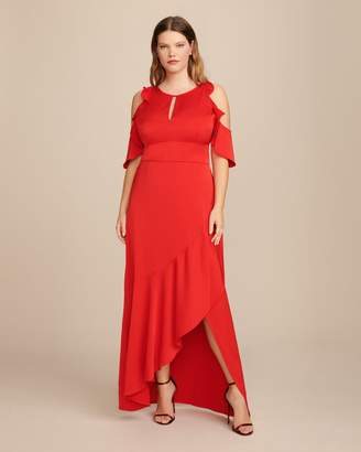 ML Monique Lhuillier Crepe Dress with Ruffle Skirt and Front Opening