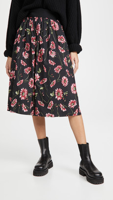 Adam Lippes Midi Skirt with Elastic Waist In Printed Poplin