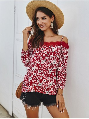 Fs Collection Daisy Floral Print In Red Long Sleeve Lace Trim Cold Shoulder Cami Top