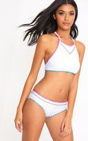 PrettyLittleThing White High Neck Multi Embroidered Bikini Set