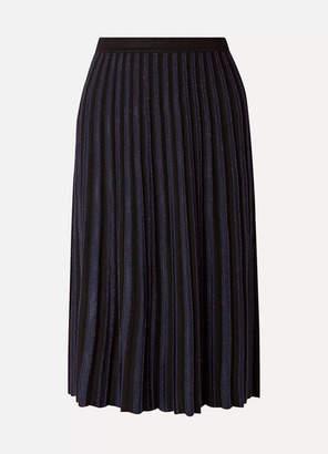 Diane von Furstenberg Klara Pleated Metallic Stretch-knit Midi Skirt - Black