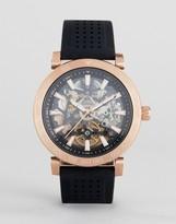 Michael Kors Mk9033 Exposed Mechanics Bracelet Watch In Black/Rose Gold