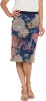 Isaac Mizrahi Live! Floral Printed and Sequin Pencil Skirt