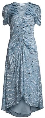 Parker Shelley Illusion Tiger-Stripe Stretch Silk Dress