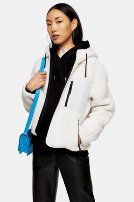 Topshop Womens Cream Hooded Fleece - Cream