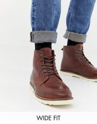 Asos Design DESIGN Wide Fit lace up boots in brown leather with white sole