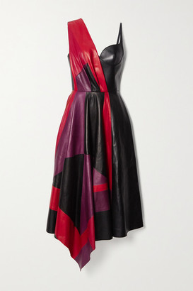 Alexander McQueen Asymmetric Color-block Leather Dress - Black