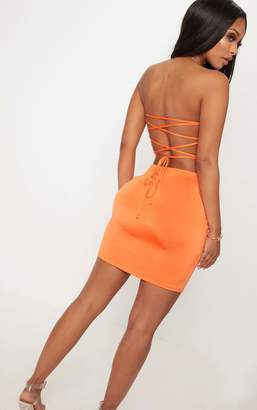 PrettyLittleThing Shape Orange Slinky Lace Up Back Bodycon Dress
