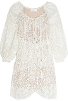 Zimmermann Embroidered Silk-georgette Dress - Ivory