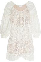 Zimmermann Embroidered Silk-georgette Dress - Ivory