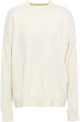 Belstaff Coated Cable-knit Merino Wool Turtleneck Sweater