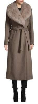 Ellen Tracy Faux Fur-Trim Wool-Blend Wrap Coat