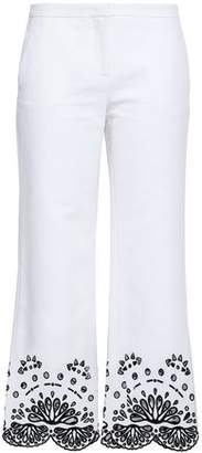Emilio Pucci Broderie Anglaise-trimmed Cotton-pique Kick-flare Pants